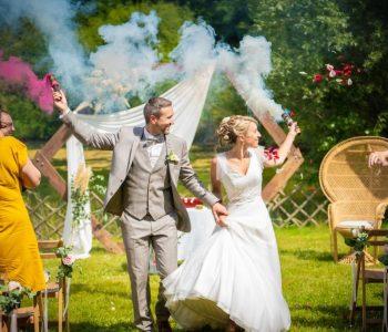 sortie ceremonie mariage fumigenes